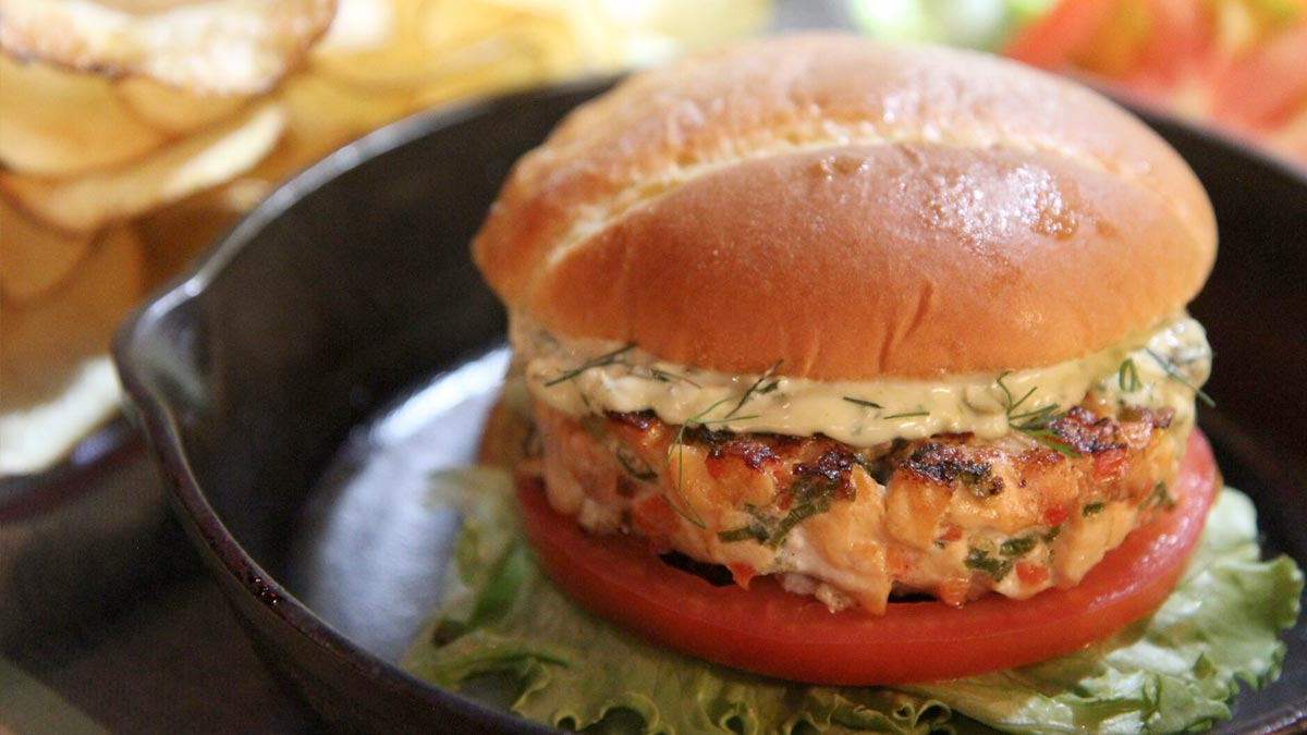 Salmon Burgers with Green Tartar Sauce