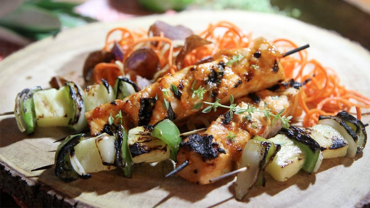 Salmon Brochette with Carrot Ginger Slaw
