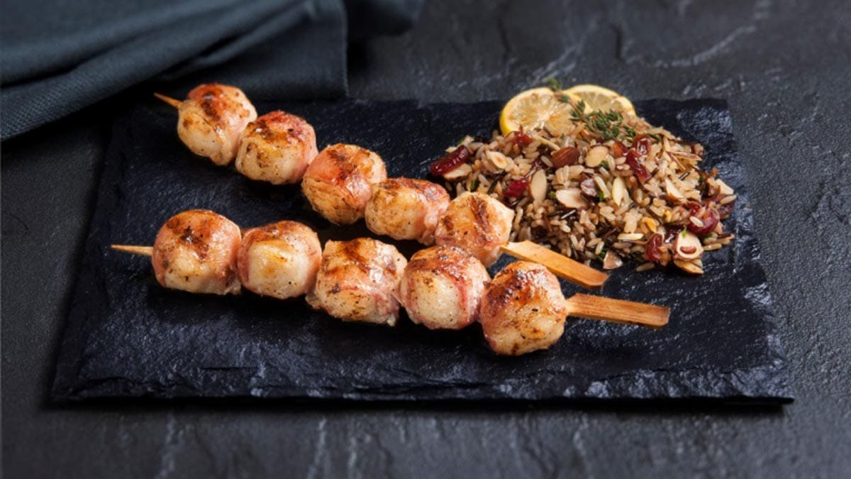 Bacon Wrapped Scallop Skewers<br> served with Rice Pilaf