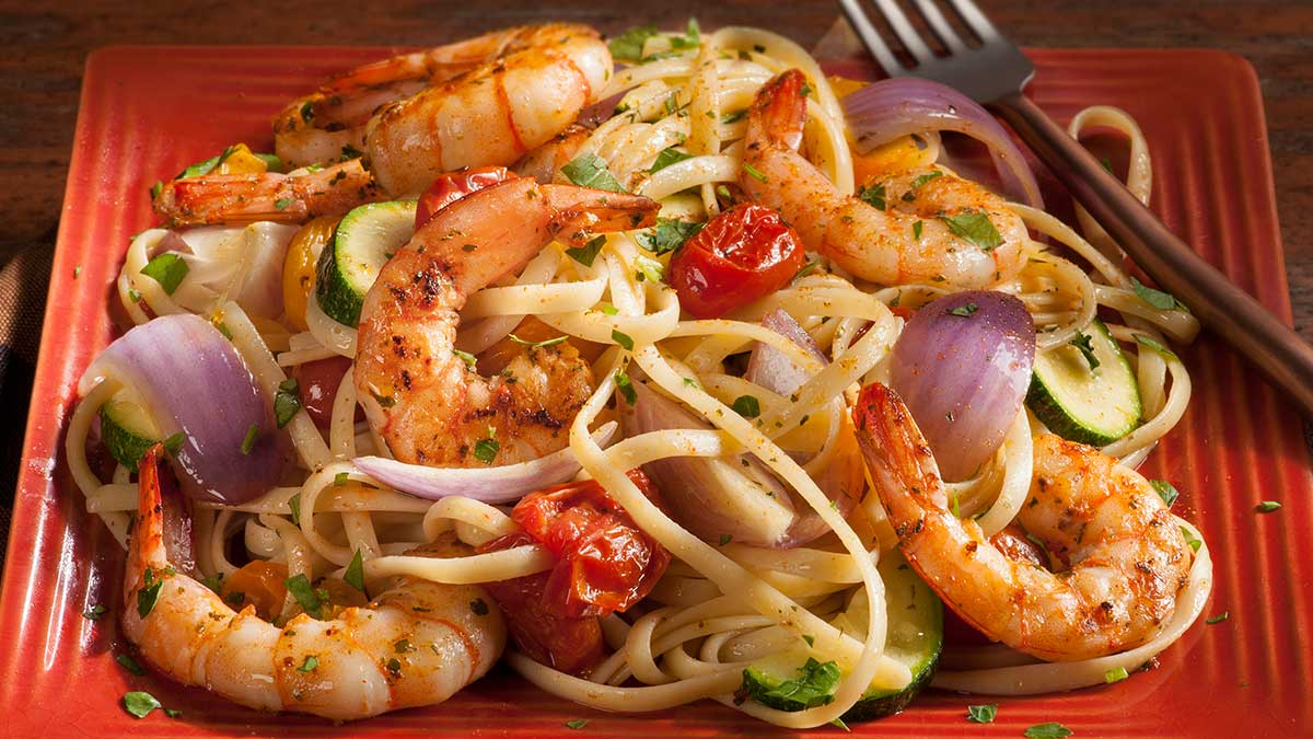 Cajun Shrimp And Pasta With Vegetables