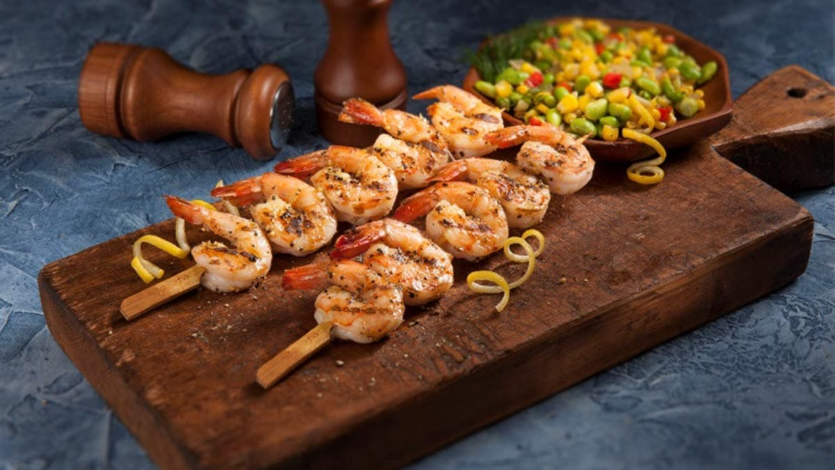 Lemon Pepper Shrimp Skewers with Succotash