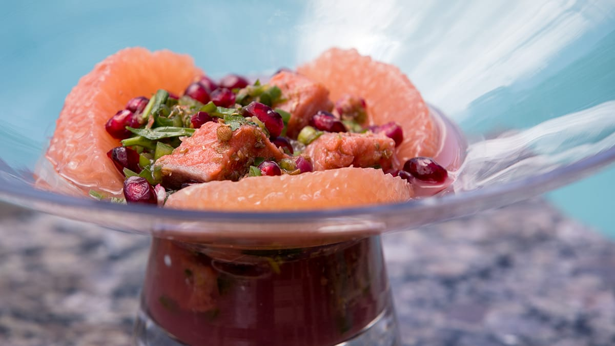 Sockeye Salmon Grapefruit-Pomegranate Ceviche