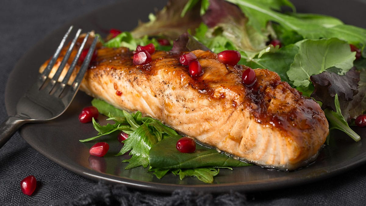 Salmon with Spicy Pomegranate-Orange Glaze