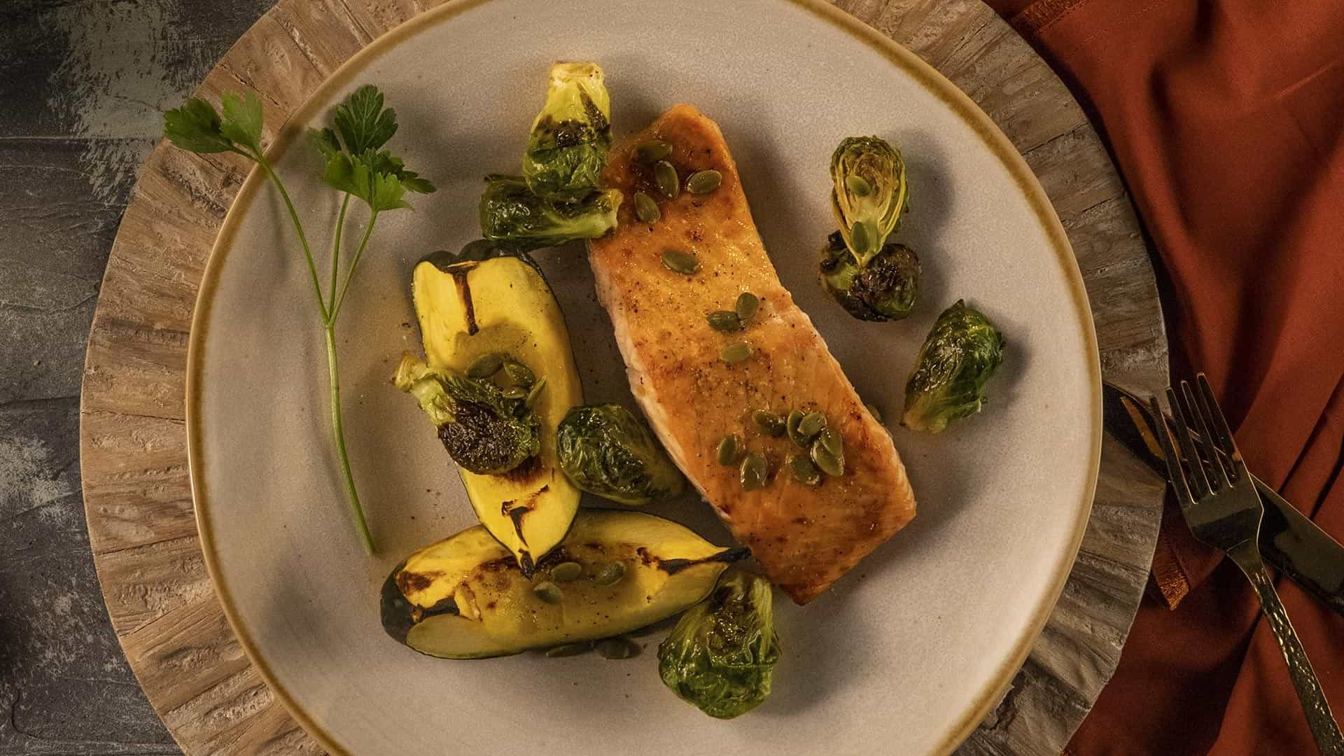 Salmon with Acorn Squash & Pumpkin Seeds