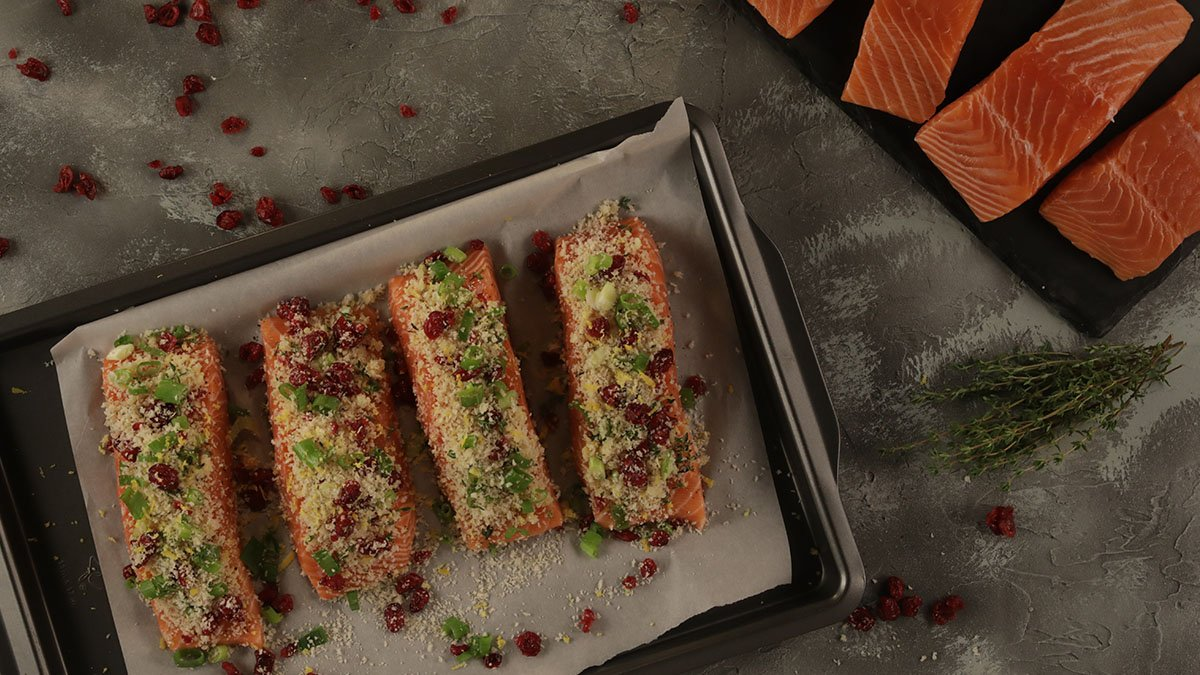 Salmon with Cranberry-Thyme Crust